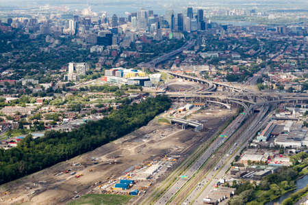 governement: Photo aerienne des travaux de reconstruction de lechangeur Turcot. - Aerial photos of the Turcot interchange construction project. Quebecs larget road work project. Montreal, Canada.