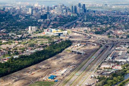 Photo aerienne des travaux de reconstruction de lechangeur Turcot. - Aerial photos of the Turcot interchange construction project. Quebecs larget road work project. Montreal, Canada.