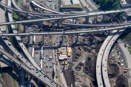Aerial view of Canadas largest road work project: The Turcot interchange project. Montreal.