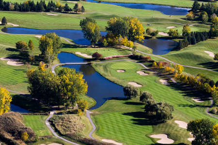 Aerial view over the Laprairie golf course seen at fall on the Montreal south shore, Canada. Imagens