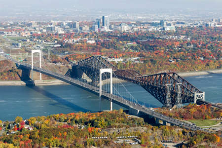 Aerial fall view of the Quebec bridges (Ponts de Quebec) crossing the Ste-Lawrence river.
