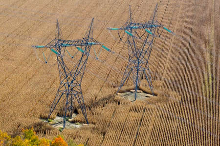 Autumn aerial view over electrical pylons and transmission lines standing in farmed fields