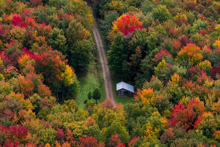 Scenic aerial view of a cabin sitting in the middle of a colorful North American forest at fall