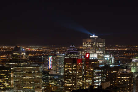 Spectacular night view over the Montreal skyline and its landmark buildings, Canada