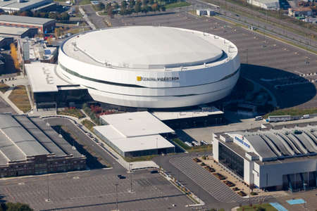 Quebec city, October 11, 2016. Aerial view of the newly built Videotron Center next to the old Colisée. Built at a cost of $370 millions from taxpayers money, the centre hope to be awarded an NHL franchise in the near future.