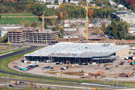 Quebec city, October 10, 2014. Aerial view over the new Costco warehouse under construction. The American giant is expending in Canada.