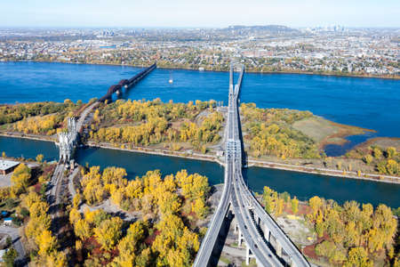 Montreal, October 20, 2016. Aerial view over the Mercier bridge linking Chatauguay to the Montreal island seen at fall. Canada. Editorial
