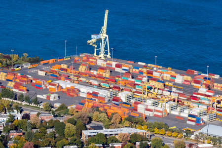 Montreal, October 15, 2016. Aerial view of the Port of Montreal cargo & container facility along the Ste-Lawrence river, the port handles nearly 10 millions containers each years.