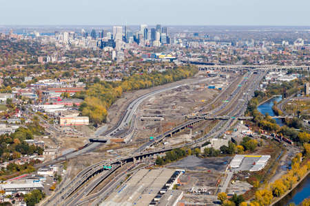 Montreal, October 20, 2016. Aerial view over the Turcot project seen from the western interchange near Angrignon blvd. Canadas largest road work project will be completed in 2020. Editorial