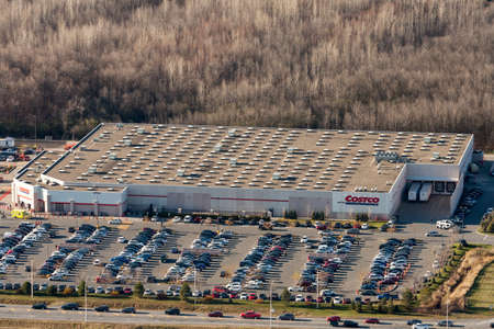 Boucherville, September 7, 2014. Aerial view over a Costco warehouse store on a busy shopping day with traffic lined up to reach the membership only retail giant. Canada.