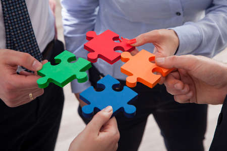 Cooperation concept of the strategic solution by puzzles Stock Photo