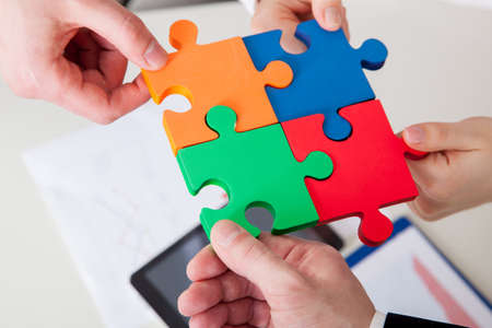 Cooperation concept of the strategic solution by puzzles Standard-Bild