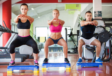 people exercising: fitness, sport, training, gym and lifestyle concept - group of smiling people exercising in the gym