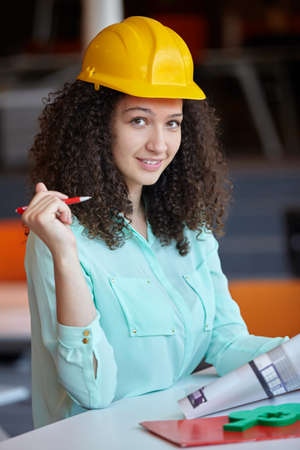 female architect: Young female architect in office