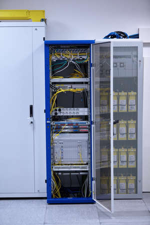 rack arrangement: Network  modern server room with computers for digital communications and internet