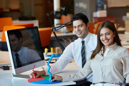 computers office: Business people Having Meeting  In Modern Office