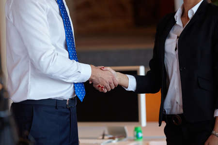 Cheerful businesspeople, or businesswoman and client handshaking at office Standard-Bild