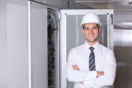 server room: network engineer working in server room