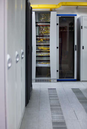 telecommunications equipment: Server Room Networkcommunications server cluster in a server room