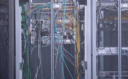server: Server Room Networkcommunications server cluster in a server room