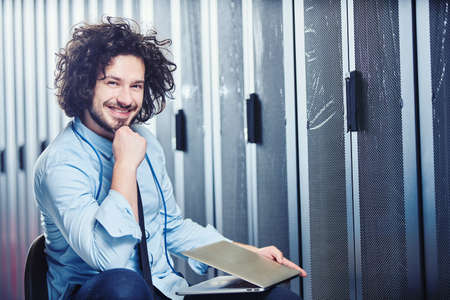 Young technician working Stock Photo