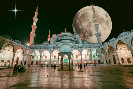 mosque at night. moon and stars