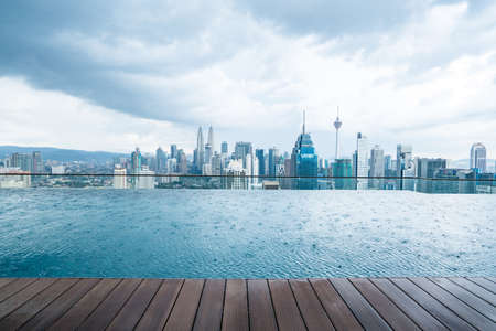 City skyline from a rooftop in indonesia, vacation
