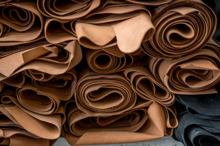 Real toned leather ready to post process into a footwear. texture, background Stock Photo