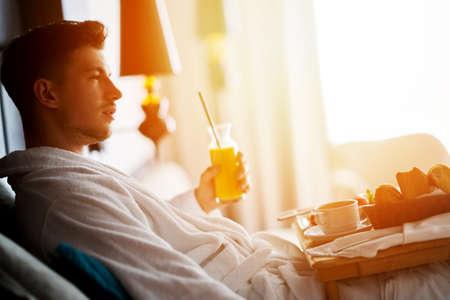 Breakfast in bed, cozy hotel room. concept 스톡 콘텐츠