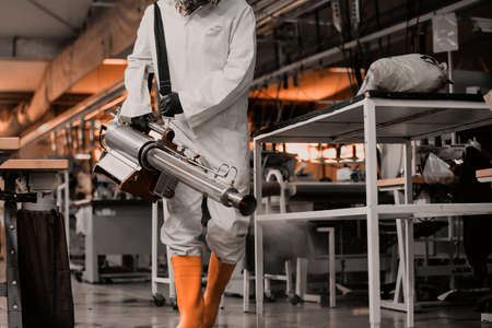 Coronavirus Quarantine. Disinfection and decontamination on a public place and factory as a prevention against Coronavirus disease 2019, COVID-19. State of emergency over pandemia with coronavirus.