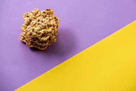 Polenta or cornmeal on luxury nut tree epoxy plank with  green resin Stock fotó - 156996017