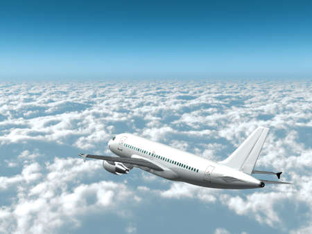 3D Airplane in flight over the clouds side rear view photo