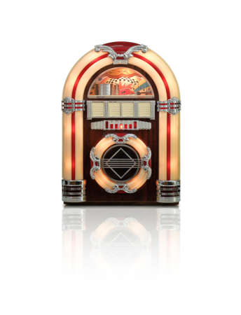Retro juke box radio isolated on white background with reflection