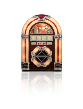 speaker box: Retro juke box radio isolated on white background with reflection