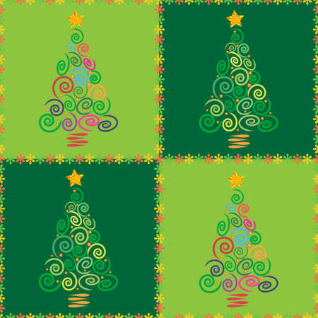 Christmas tree abstract background illustration, made as a seamless pattern, useful for application in textiles, packaging gift wrap and scrapbooking.
