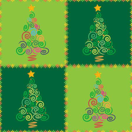 Kerstboom abstracte achtergrond afbeelding, maakte als een naadloze patroon, nuttig voor toepassing in textiel, verpakking gift wrap en scrapbooking. Stock Illustratie