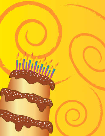 Happy birthday chocolate cake on yellow background.  Vector