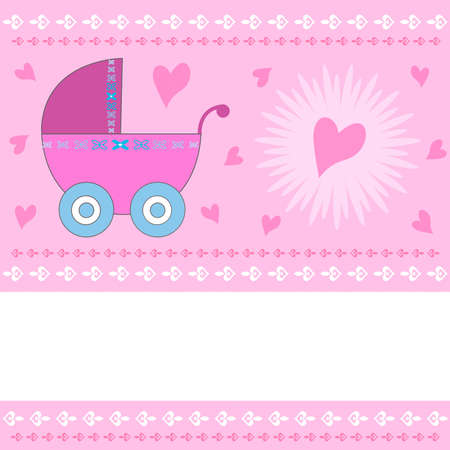 baby and mother: Baby girl arrival greeting card with pink stroller and harts with copy space. Illustration