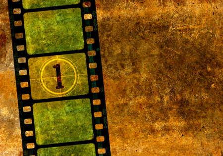 Vintage 35mm film reel, kleurrijke achtergrond met grunge getextureerde filmbeelden en een nummer een in de countdown Stockfoto