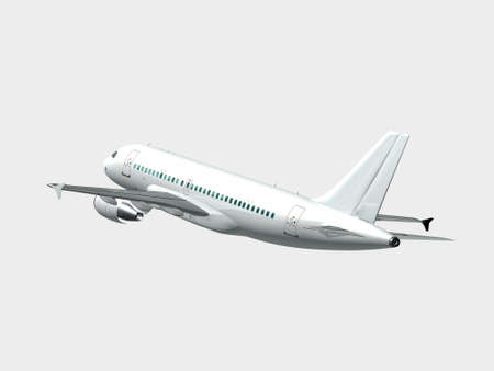 jetplane: 3D illustration of an airplane in flight isolated Stock Photo