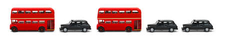 Banner of red London buses and taxies in a row isolated on white Stock Photo