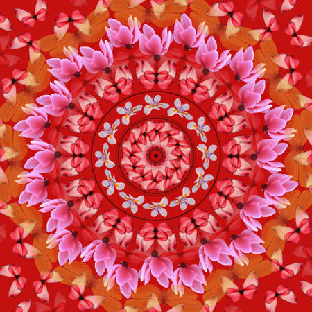 mandala: Red mandala with butterflies and flowers