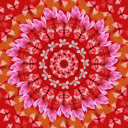 Rode mandala met vlinders en bloemen