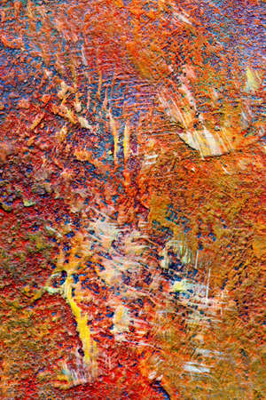 stucco: Abstract Impressionism Painting with grunge texture in reds