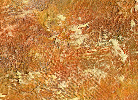 corroded: Orange rough abstract painting with grunge texture