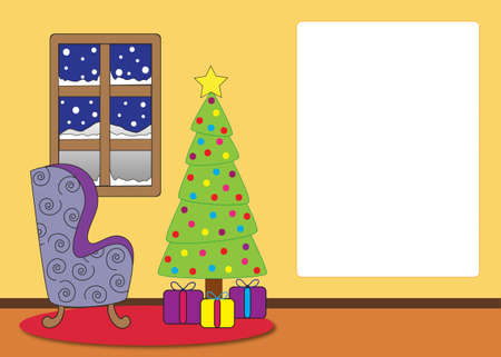 text room: Living room with a window, lounge chair, christmas tree and presents. Card with text space. Stock Photo