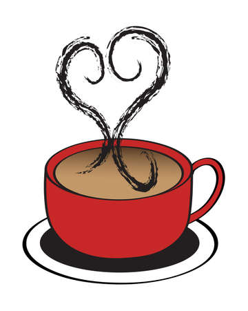 steaming: A Red coffee cup with steaming heart