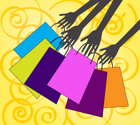 Hands with shopping bags