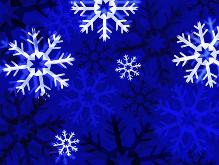 Illustration of snowflakes on blue background illustration
