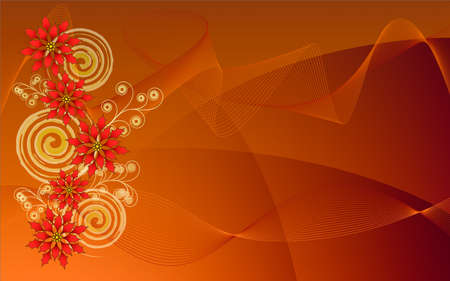 Seasonal computer screen background with poinsettias over orange abstract background Stock Photo - 11297771